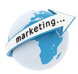 Bild einer Weltkugel mit einem Pfeil Marketing