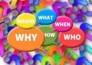 Buntes Bild mit Sprechblasen Why, Who, When, What. Where