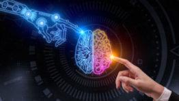 Darstellung menschlicher Finger und digitaler Finger berühren Gehirn