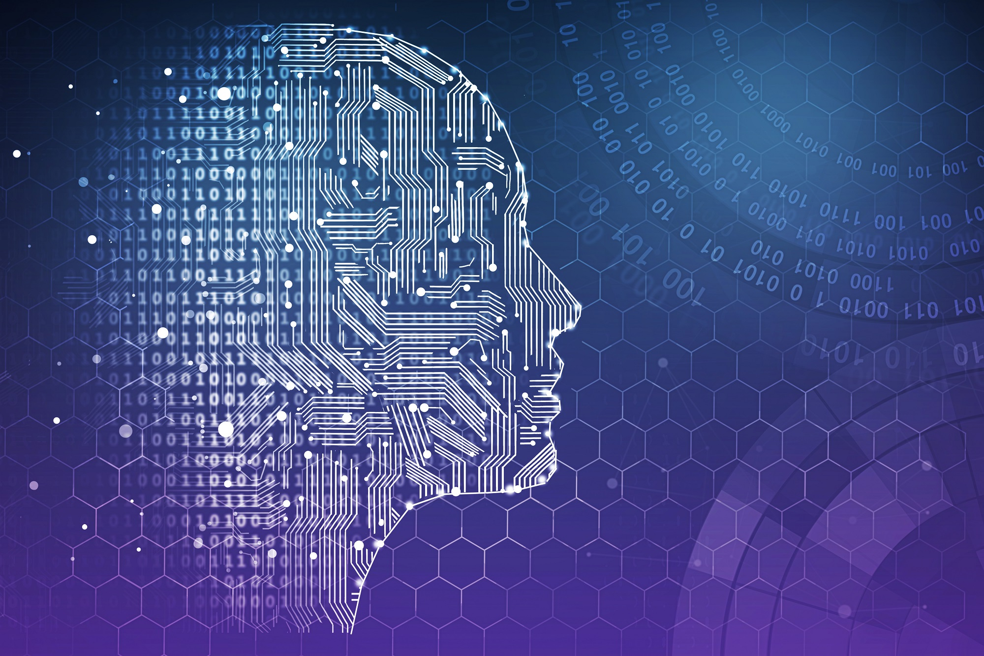 Artificial intelligence. Human head outline with circuit board inside. Technology and innovation concept. 3D Rendering