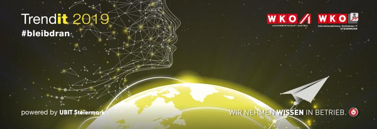 Imagebild Trendit Kongress 2019 mit Weltkugel und digitalem Gesicht