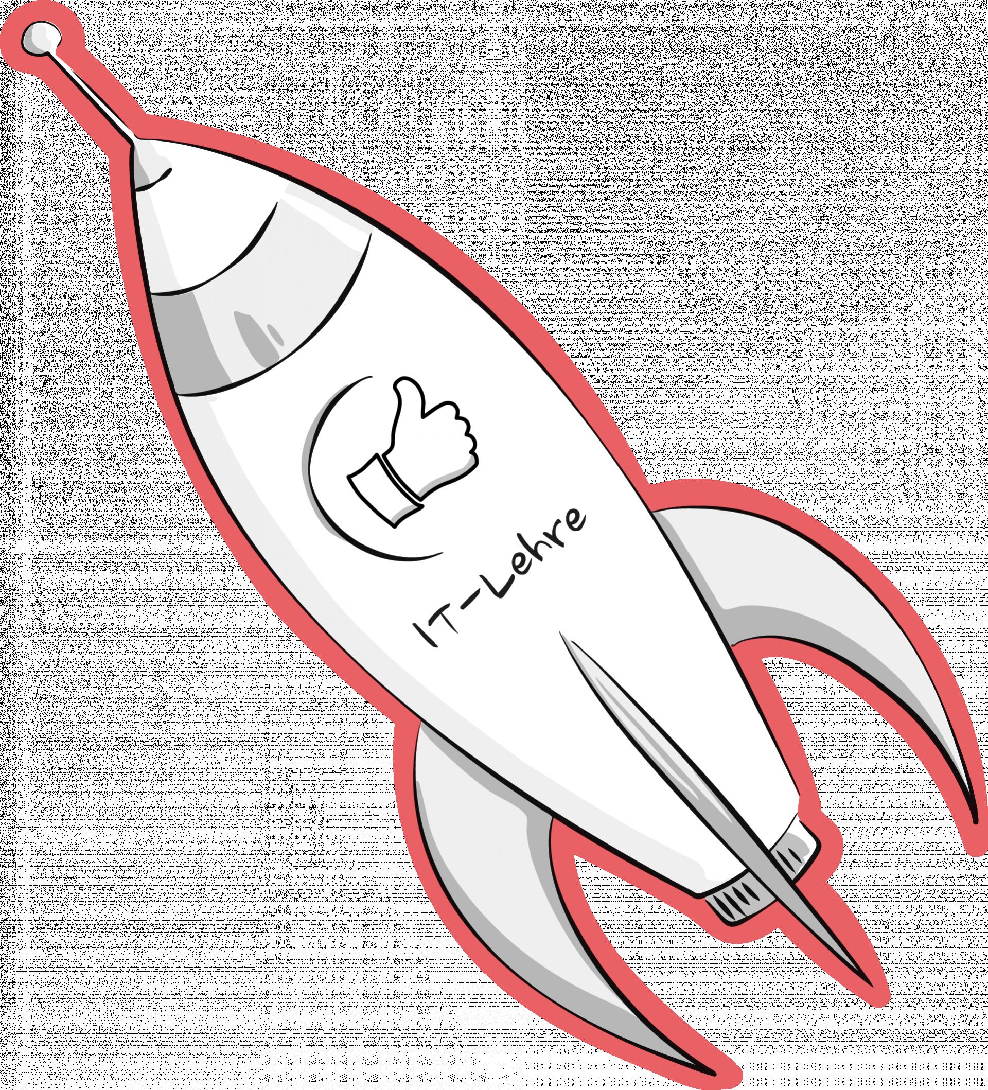 Zeichnung einer Rakete mit Daumen nach oben und Text IT-Lehre
