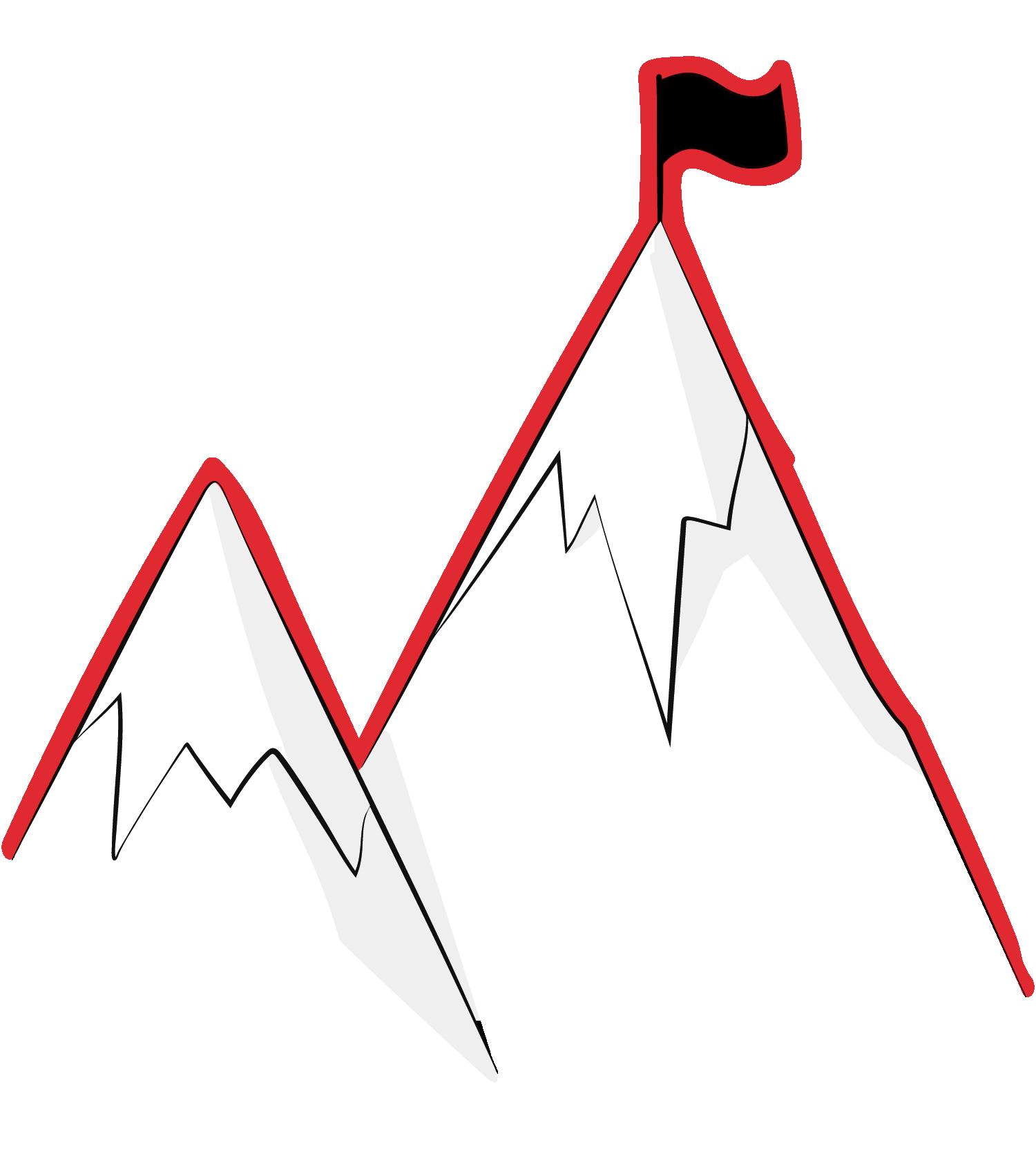 Zeichnung von zwei Gipfeln