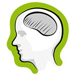 Grafik Kopf mit Gehirn