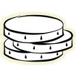 Zeichnung von 3 aufeinanderliegenden Münzen