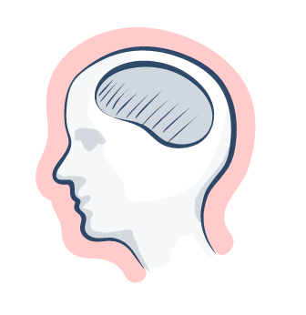 Zeichnung eines Kopfes mit Gehirn