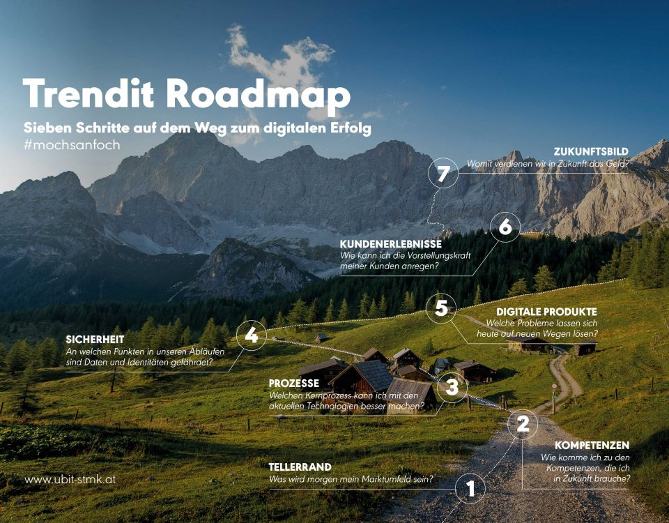 Bild der Trendit Roadmap mit den 7 Schritten auf dem Weg zu digitalen Erfolg