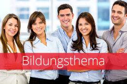Bild von 2 Damen und einem Herren im Business-Outfit und Text Bildungsthema