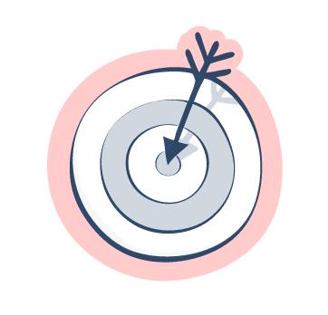 Zeichnung einer Zielscheibe mit Pfeil in der Mitte