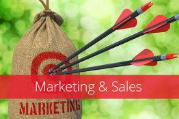 Zielscheibe mit 3 Pfeilen in der Mitte und dem Titel Marketing & Sales