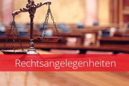 Bild einer Waage und Text Rechtsangelegenheiten